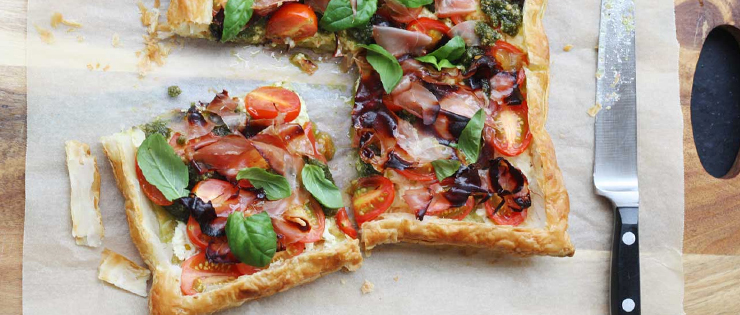 Baby Tomato Pesto and Prosciutto Tart