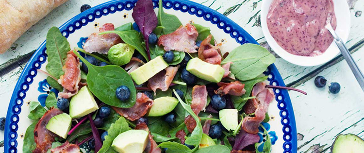 Blueberry, Bacon and Avocado Salad (With a Blueberry Dressing)