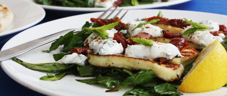 Minty Halloumi and Sundried Tomato Salad with Honey Balsamic Spinach