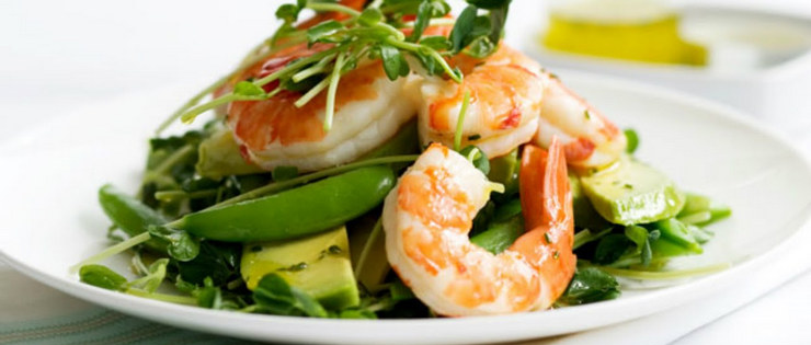 Avocado and Prawn Salad with Lime and Passionfruit Dressing
